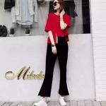 แขนสั้น+กางเกงขายาว เนื้อผ้ายืดค่ะ ตัวเสื้อเปนเสื้อคอกลม แขนสั้น สีแดง สีแจ่มมากค่ะ เนื้อผ้าดีมาก สวมใส่สบายค่ะ