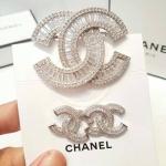 Diamond Chanel Brooch&Earring เข็มกลัดและต่างหู ชาแนล มีปั้มLogo เลเซอร์อย่างดี ทรงทับทิมฉลุ