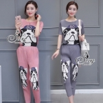 Lady Ribbon Online ขายส่งเสื้อผ้าออนไลน์ เสื้อผ้า Sevy SV12030816 &#x1F389Sevy Two Pieces Of Bulldog Pleat Blouse With Pants Sets