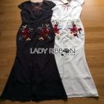 Lady Ribbon Floral Embroidered Polyester Dress เดรสยาวโพลีเอสเตอร์ผ่าหน้า