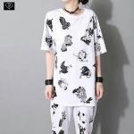 *Must Have!!Japan Signature Cotton T-Shirt เสื้อยืดตัวยาวแขนสั้นคอกลมสกรีนกาวลายยากุซ่า*