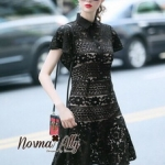 Lady Ribbon Online เสื้อผ้าออนไลน์ขายส่ง Normal Ally เสื้อผ้า,NA11220816 &#x1F389Normal Ally Present Elegance sleeve black lace lotus leaf swing&#x1F389 (เดรสผ้าลูกไม้, มีซับในอย่างดี)