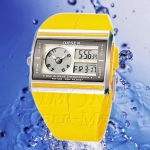 OHSEN – AD0518-4 : Dual System Alarm / Chronograph Sports Watch [Yellow]