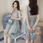Lady Ribbon Online เสื้อผ้าแฟชั่นออนไลน์ขายส่ง เลดี้ริบบอนของแท้พร้อมส่ง sevy เสื้อผ้า SV12240716 BEST SELLER-Restock &#x1F389Sevy Sleeveless Vintage Hollow Lace Dress