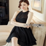 Lady Ribbon Chiara Sexy Elegant Layered Black Chiffon Dress