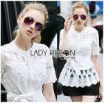 Lady Ribbon Online เสื้อผ้าออนไลน์ขายส่ง Lady Ribbon เสื้อผ้า LR10180816 &#x1F380 Lady Ribbon's Made &#x1F380 Lady Elena Elegant Chic Button-Down White Lace Blouse with Ribbon เสื้อผ้าลูกไม้สีขาว