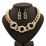 AT2286 - สร้อยคอแฟชั่น,สร้อยคอ,สร้อยแฟชั่น,เครื่องประดับ large hoop metal buckle necklace women clavicle sets of chain earrings