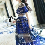' Blue LAdy Luxury Lace Long Dress