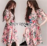Lady Ribbon Online ขายส่ง เสื้อผ้าออนไลน์ ของแท้ ราคาถูกพร้อมส่ง เลดี้ริบบอน LR04140716 &#x1F380 Lady Ribbon's Made &#x1F380 Gucci Sweet Natural Floral Printed Pink Dress