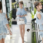 Seoul Secret Say's... Lasso Baby Blue Pleaty Playsuit