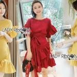 Dress Lady Ribbon ขายเดรสแดงผ้าลินิน