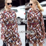 Lady Ribbon Graphic Printed Chiffon Dress เดรสผ้าชีฟอง