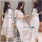 Lady Ribbon Online ขายส่งเสื้อผ้าออนไลน์ เลดี้ริบบอน LR01280716 &#x1F380 Lady Ribbon's Made &#x1F380 Lady Ribbon's Made Lady Cate Sweet Feminine Embroidered Organza and Lace Midi Dress
