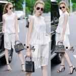 Lady Ribbon Online เสื้อผ้าออนไลน์ขายส่ง Normal Ally เสื้อผ้า NA08180816 &#x1F389Normal Ally Present Lace white princess summer set&#x1F389