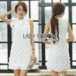 Lady Ribbon Embroidered White Chiffon with Ribbon