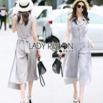 Lady RibbonYulia Minimal Chic Grey Organza Jumpsuit