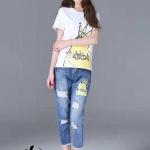 SET เสื้อยืด+กางเกงยีนส์ เสื้อยืดลายลูกเจี๊ยบใส่มงกุฎผ้ายืด cotton100% สวมใส่สบาย
