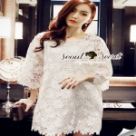 Floral White Lace Dress เรียบหรูสวยหวานด้วยเดรสทรงแขนบาน