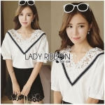 Lady Ribbon Online ขายส่ง เสื้อผ้าออนไลน์ ของแท้ ราคาถูกพร้อมส่ง เลดี้ริบบอน LR16140716 &#x1F380 Lady Ribbon's Made &#x1F380 Lady Analeigh Sweet Chic Monochrome Lace and Cotton Blouse
