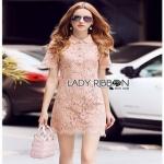 Lady Ribbon Pink Lace Mini Dress มินิเดรสสีชมพู
