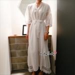 สีขาว งานสไตล์เกาหลี ตัวผ้าลายฉลุ แขนยาว 4 ส่วนพองๆแต่งชายภู่ งานสวยมากๆคะมีซับใน มาพร้อมผ้าผูกเอว ใส่สวยมากๆคะ