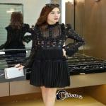 เสื้อผ้าแฟชั่นเกาหลีCliona Winter Black Lace Dress เดรสแขนยาวโทนขาวดำ