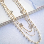 A55 - สร้อยคอแฟชั่น,สร้อยคอ,สร้อยแฟชั่น,เครื่องประดับ pearl roses long section of multilayer sweater chain necklace