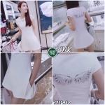 Set เสื้อ+ กางเกง สกรีนปีกนกเพชร ดีไซน์เรียบง่ายด้วยการออกแบบเสื้อเป็นทรงคอกลมแขนเต่อ