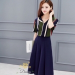 ชุดเซท เสื้อ+กางเกงแฟชั่นเกาหลีสวยๆ เสื้อลายทางคอโทนสีเขียว