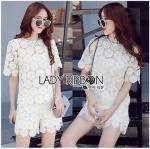 Lady Ribbon Online ขายส่งเสื้อผ้าออนไลน์ ขายส่งของแท้พร้อมส่ง Lady Ribbon LR16250716 &#x1F380 Lady Ribbon's Made &#x1F380 Lady Patricia Pretty Cute Daisy Embroidered Set