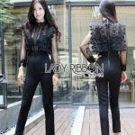 Lady Ribbon Black Lace and Tulle Self-portrait Jumpsuit