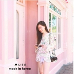 เสื้อแขนยาวลายดอกไม้สีชมพู ช่วงอกแต่งสายสานไขว้ มาพร้อมเชือกผูกเอว สวยหวานมากๆค่า