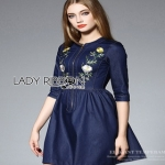Lady Ribbon Lady Jane Floral Embroidered Zip-Sown Denim Dress