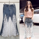 Low Waist Patchwork Lace With Denim SkirtDesigned by Korea
