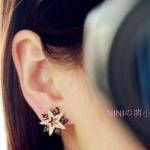 AE1659 - ต่างหูแฟชั่น ต่างหูหนีบ ต่างหูเกาหลี ตุ้มหูแฟชั่น ตุ้มหู ต่างหู เครื่องประดับ Korean luxury fashion double gun black pentagram earrings