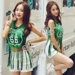 Lady Ribbon Online ขายส่งเสื้อผ้าออนไลน์ เสื้อผ้า Sevy SV10030816 &#x1F389Sevy Play Sport Green Tassel Sleeveless T-Shirt