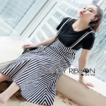 Lady Ribbon Marilyn Striped Overall Dress