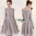 Lady Ribbon Vanessa Classic Feminine Pale Grey Lace Dress