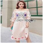 Lady Ribbon Pink Cotton ZARA Dress ขายเดรสผ้าคอตตอน