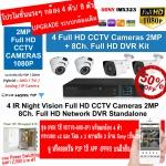 ชุดกล้อง 4 ตัว แบบ CCTV HDTVI แบบ 2 ล้าน 1080p