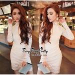 Lady Ribbon Online เสื้อผ้าแฟชั่นออนไลน์ขายส่ง เลดี้ริบบอนของแท้พร้อมส่ง Veryverypreppy เสื้อผ้า VP08240716 Luxury Lace White embroidery dress
