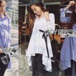 Lady Ribbon Online เสื้อผ้าออนไลน์ขายส่ง Lady Ribbon เสื้อผ้า LR12180816 &#x1F380 Lady Ribbon's Made &#x1F380 Lady Lauretta Minimal Chic Poplin Cotton Long Shirt with Ribbon เชิ้ตยาวผ้า