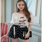 Lady Ribbon T-Shirt and Polkadot เสื้อยืด