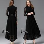 Long dress. ลูกไม้ดำผ้านุ่มลื่นไม่คัน
