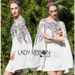Lady Violet Floral Embroidered Flare-Sleeved