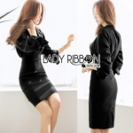 Lady Ribbon Lady Lily Minimal Elegant Cut-Out Plain Black Dress