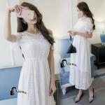 dressยาวสีขาวดูสะอาดตา ซับในเย็บติดเว้าช่วงหัวไหล่