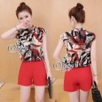 Lady Ribbon Online เสื้อผ้าแฟชั่นออนไลน์ขายส่ง เลดี้ริบบอนของแท้พร้อมส่ง sevy เสื้อผ้า SV08240716 &#x1F389Sevy Two Pieces Of Leave Stripes With Red Shorts Sets