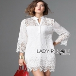 Lady Ribbon Lady Jane Classic Feminine Combined Lace Shirt Dress