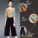 ชุด Set 2 ชิ้น เสื้อคอกลม แขนระบาย+กางเกงขายาว 9 ส่วน ตัวเสื้อเปนเสื้อคอกลม เนื้อผ้าไหมญี่ปุ่นลายดอกไม้ เนื้อดีมากค่ะ